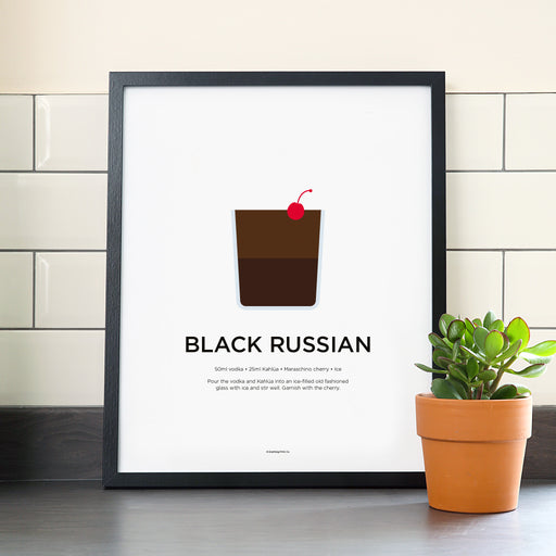 Black Russian cocktail poster