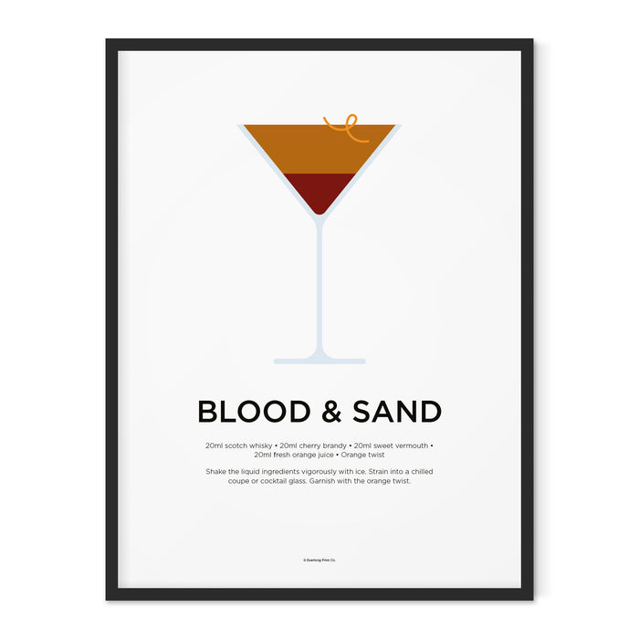 Blood and Sand cocktail art print