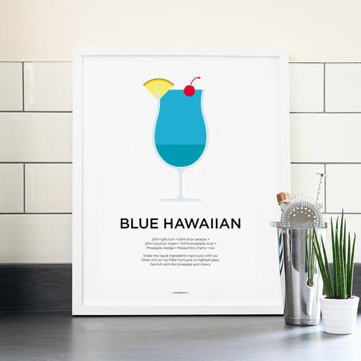 Blue Hawaiian cocktail poster