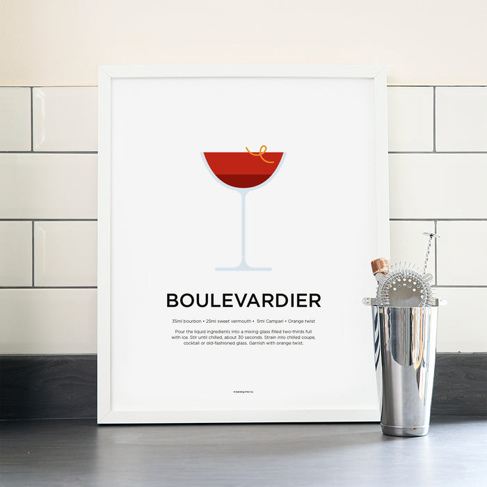 Boulevardier cocktail poster