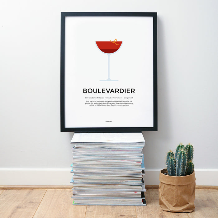 Boulevardier cocktail wall art