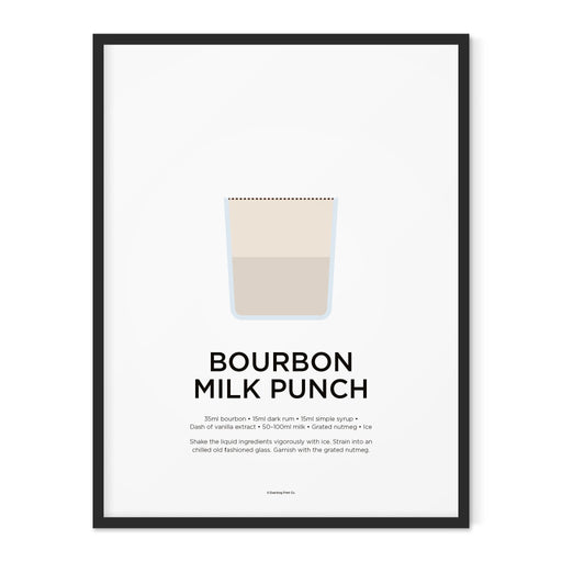 Bourbon Milk Punch cocktail art print