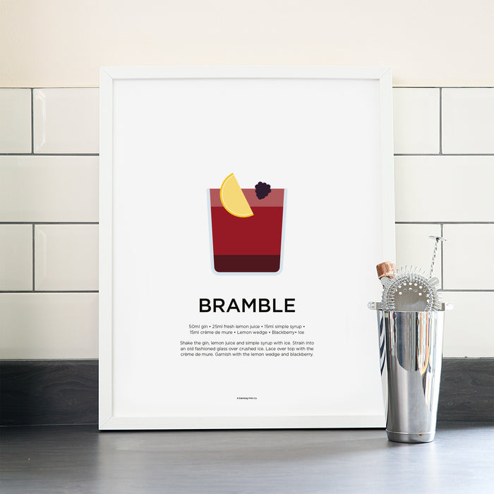Bramble cocktail poster