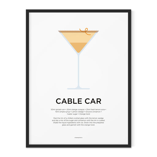 Cable Car cocktail art print
