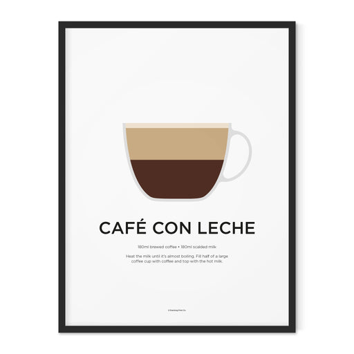 Café Con Leche coffee art print
