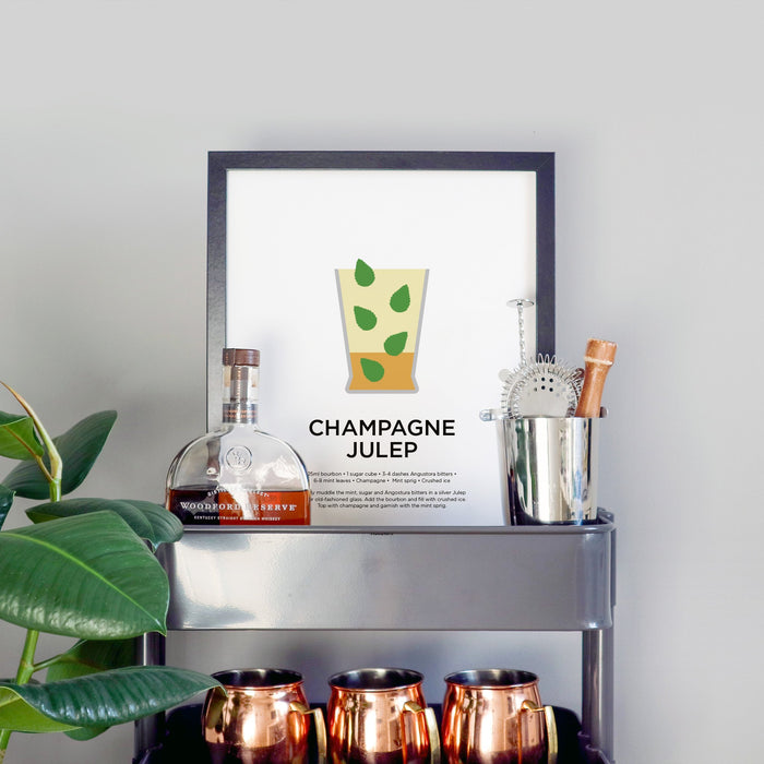 Champagne Julep cocktail print