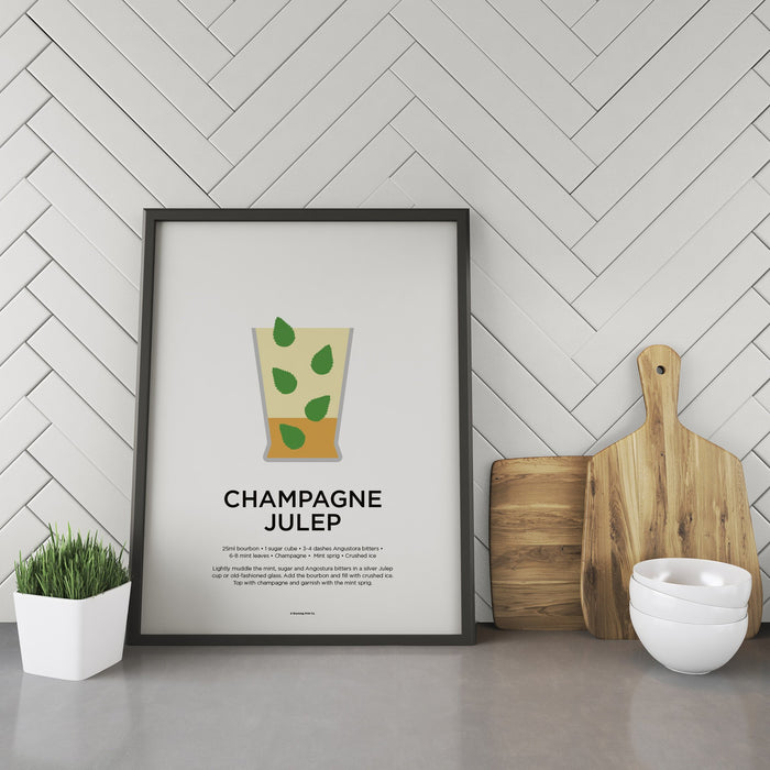 Champagne Julep cocktail recipe print