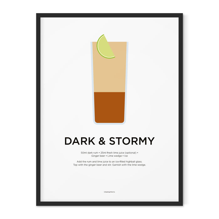 Dark and Stormy cocktail art print
