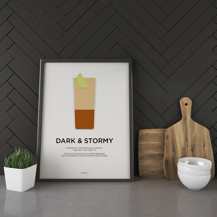 Dark and Stormy cocktail recipe print