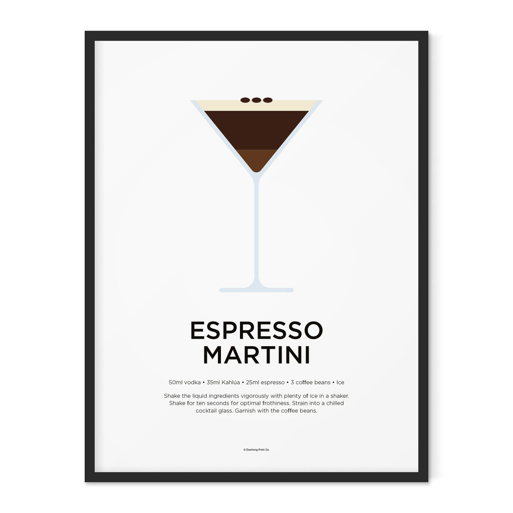 Espresso Martini Cocktail Print Everlong Print Co