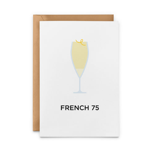 French 75 cocktail greetings card
