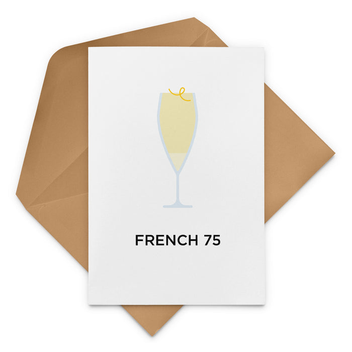 French 75 cocktail birthday card