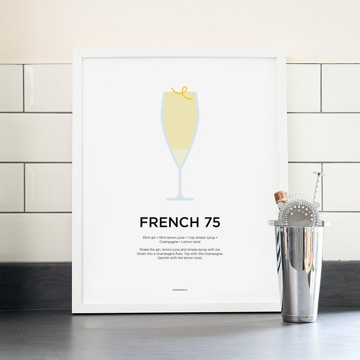 French 75 cocktail poster