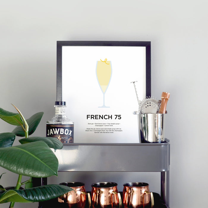 French 75 cocktail print
