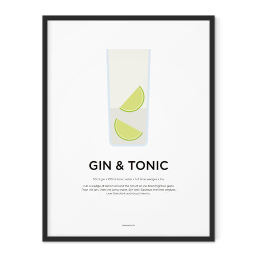 Gin and Tonic cocktail art print