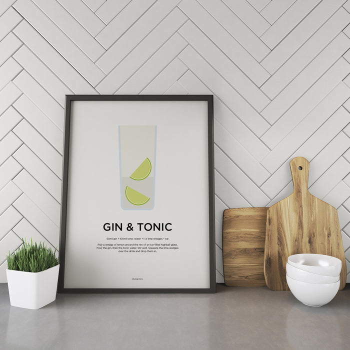 Gin and Tonic cocktail recipe print