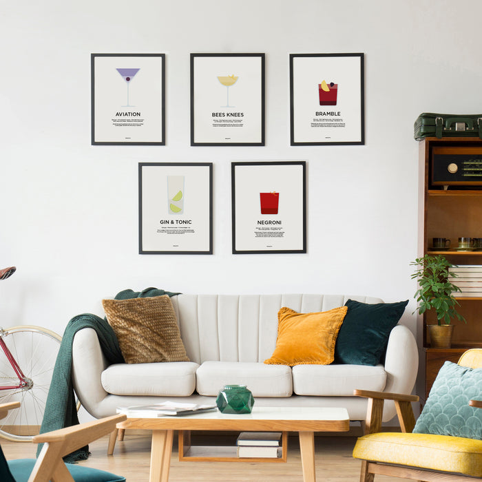 Gin cocktail prints