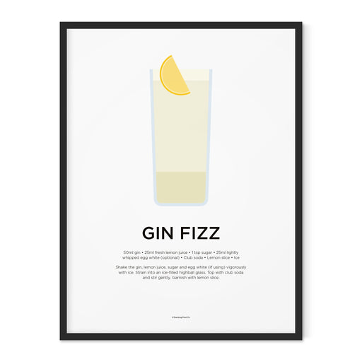 Gin Fizz cocktail art print
