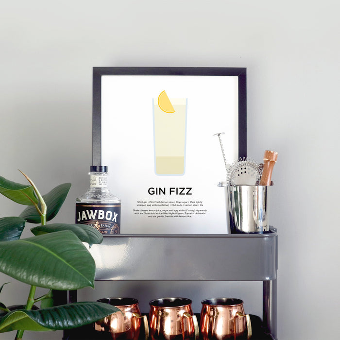 Gin Fizz cocktail print