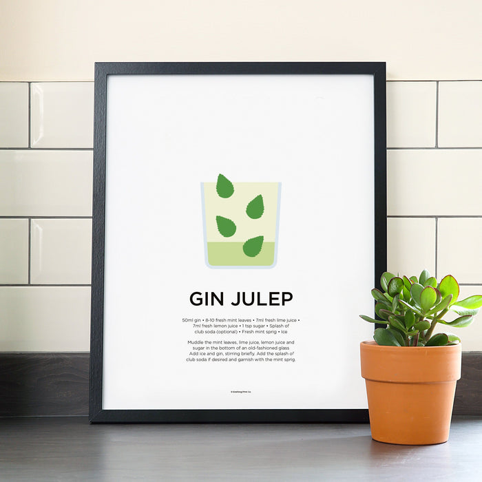 Gin Julep cocktail poster