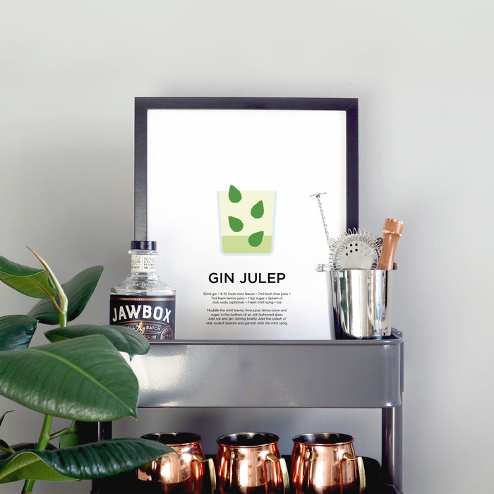 Gin Julep cocktail print