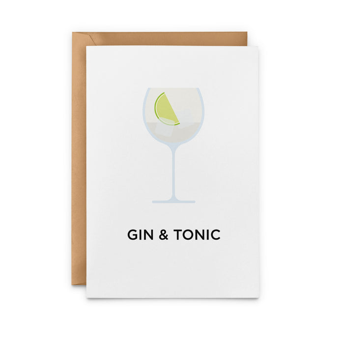 Gin and Tonic cocktail greetings card