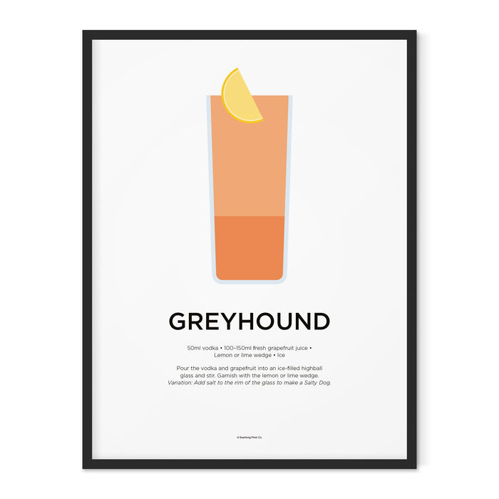 Greyhound cocktail art print