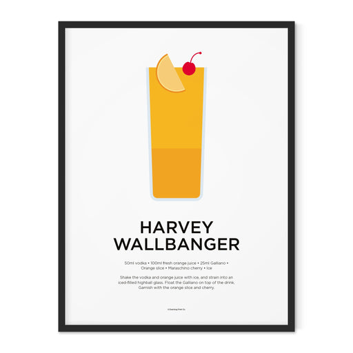Harvey Wallbanger cocktail art print