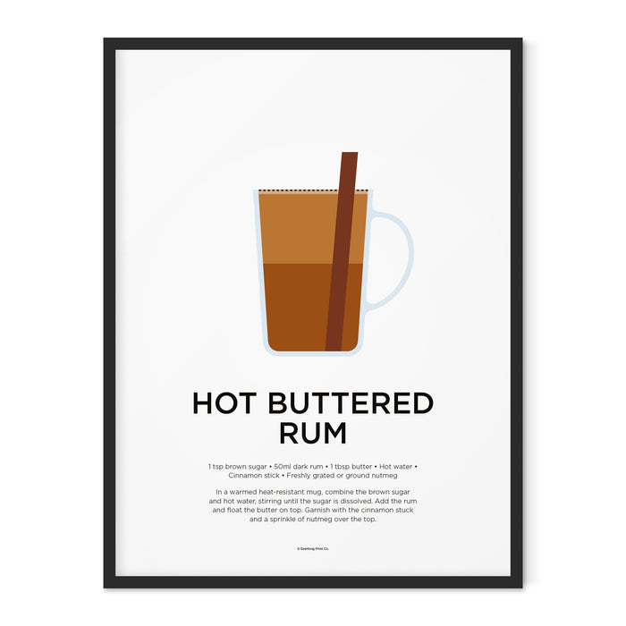 Hot Buttered Rum cocktail art print
