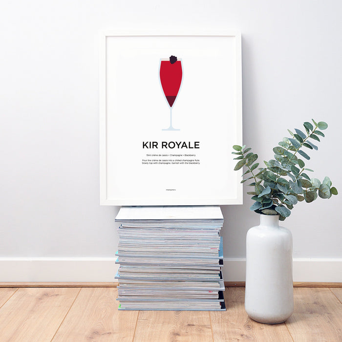 Kir Royale cocktail wall art