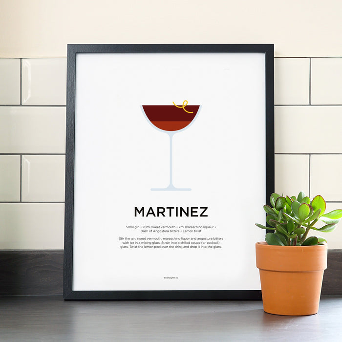 Martinez cocktail poster
