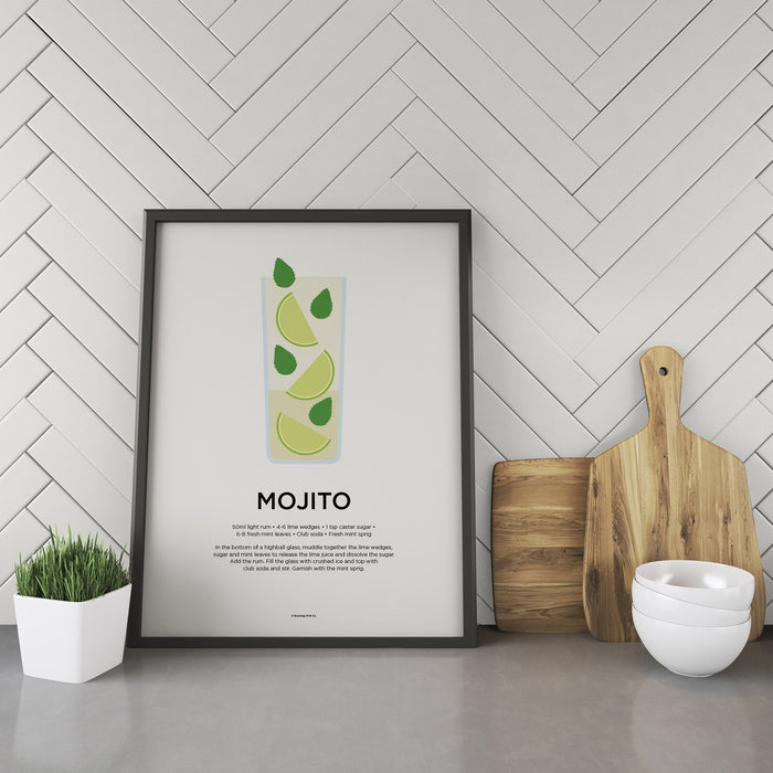 Mojito cocktail recipe print