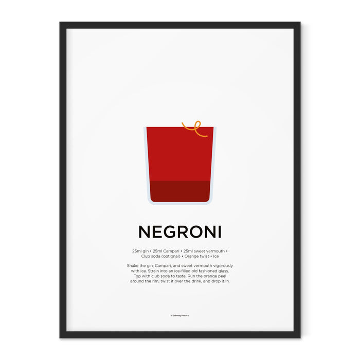 Negroni cocktail art print