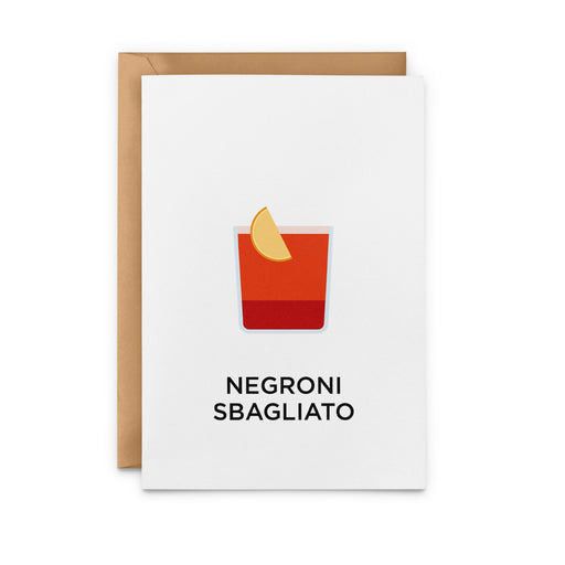 Negroni Sbagliato Cocktail Greeting Card