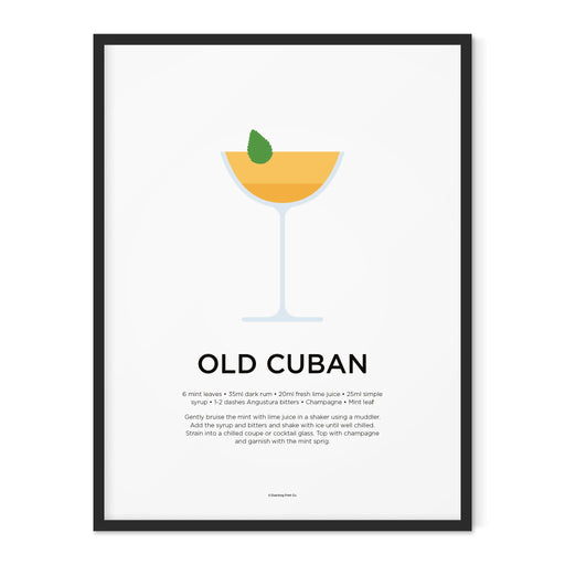 Old Cuban cocktail art print