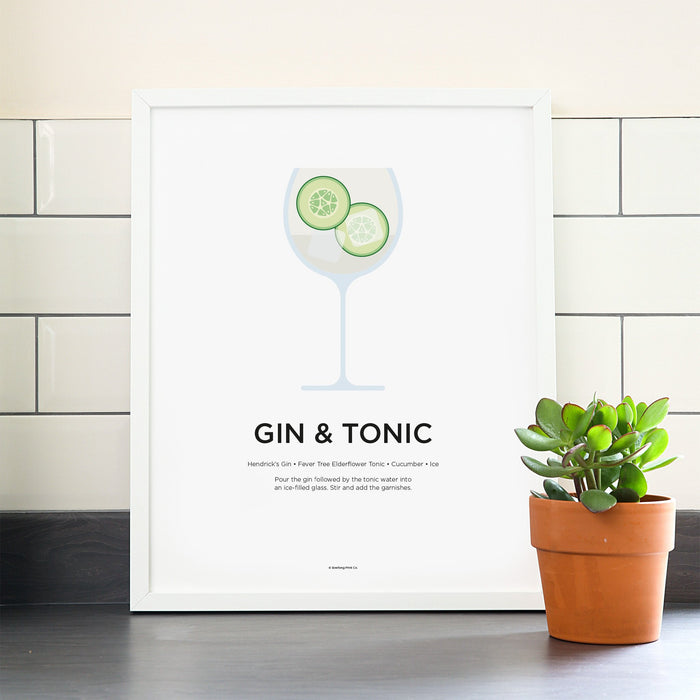 Personalised gin and tonic wall art print