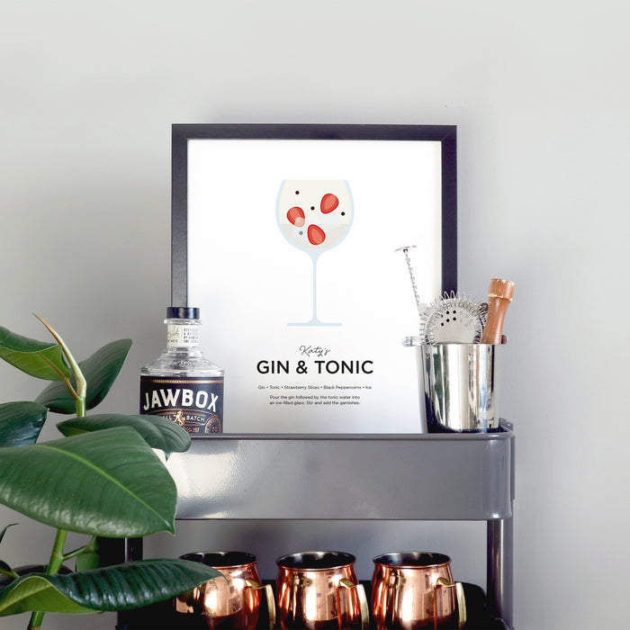 Personalised gin tonic wall art