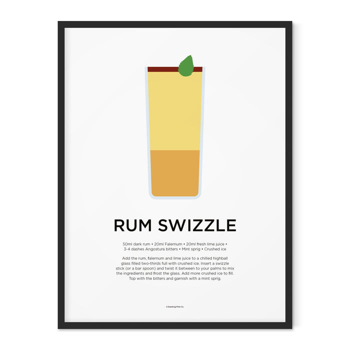 Rum Swizzle cocktail art print