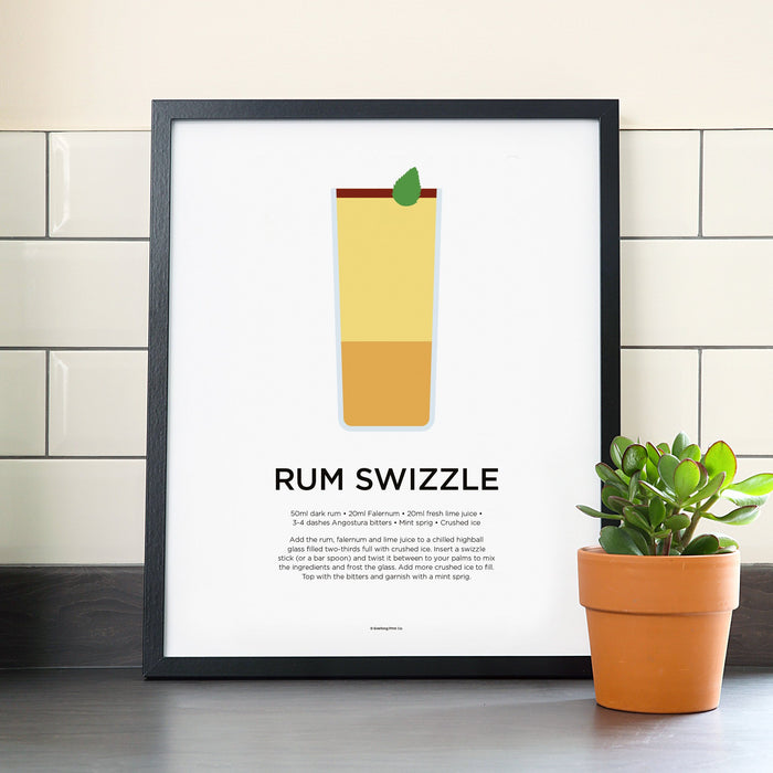 Rum Swizzle cocktail poster