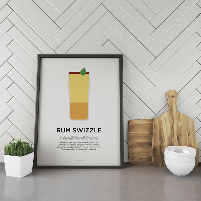 Rum Swizzle cocktail recipe print