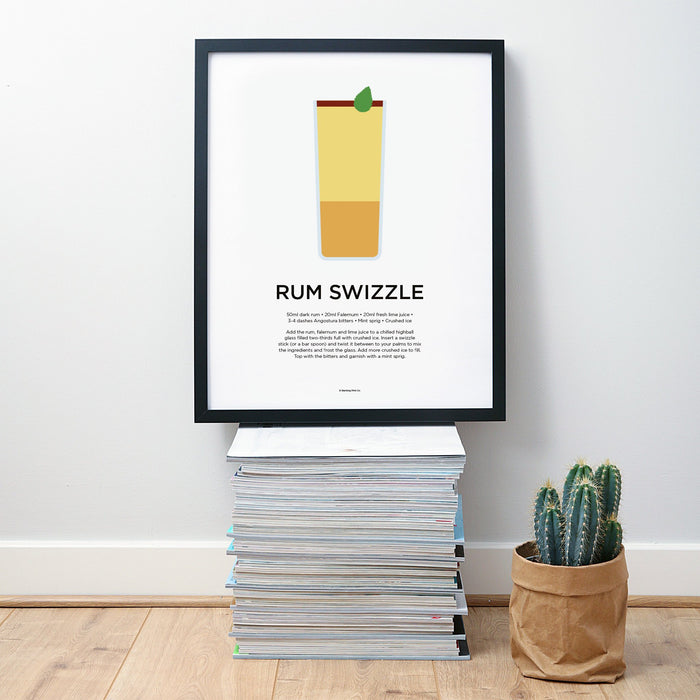 Rum Swizzle cocktail wall art