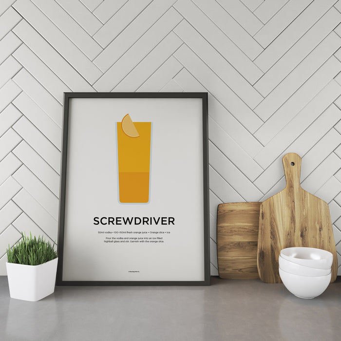 Screwdriver cocktail recipe print