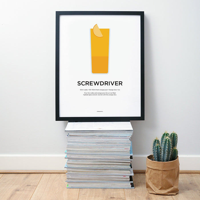 Screwdriver cocktail wall art