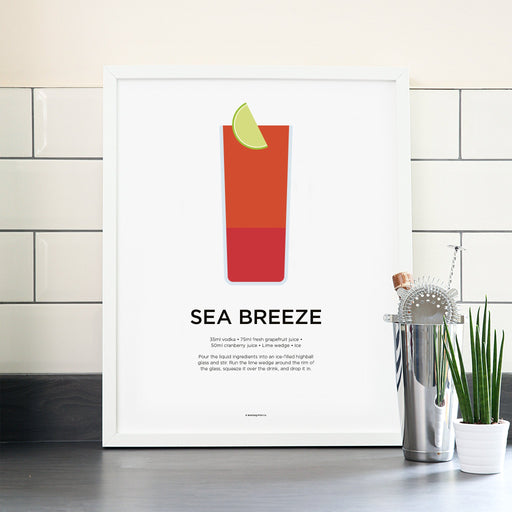 Sea Breeze cocktail poster