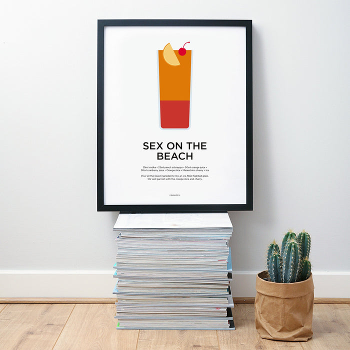 Sex on the Beach cocktail wall art