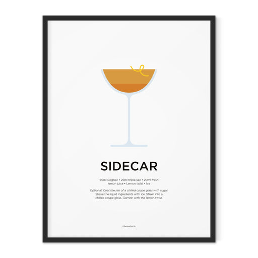 Sidecar cocktail art print