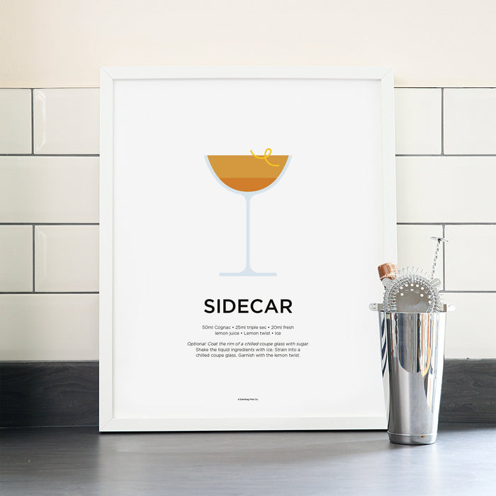 Sidecar cocktail poster