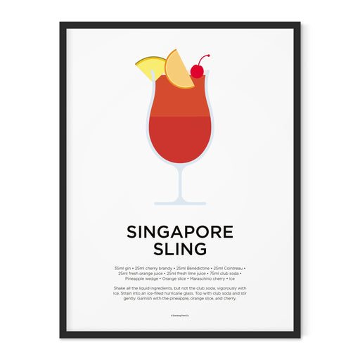 Singapore Sling cocktail art print