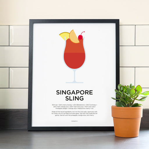 Singapore Sling cocktail poster