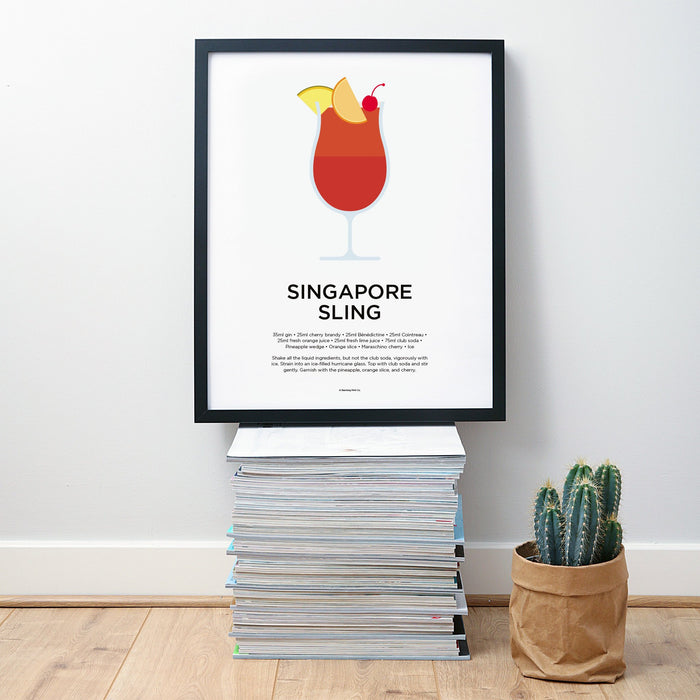 Singapore Sling cocktail wall art